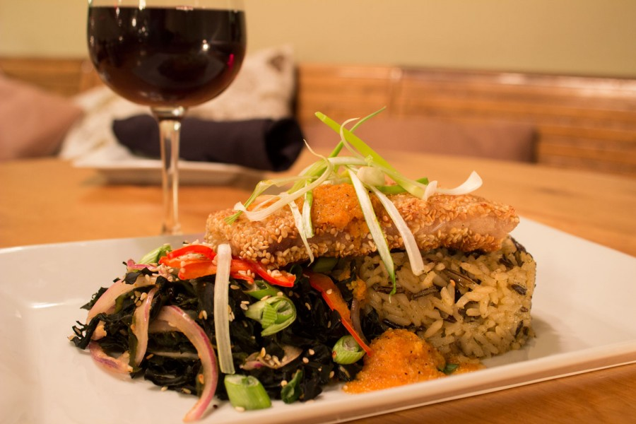 Daily Planet Sesame crusted mahi mahi and wine