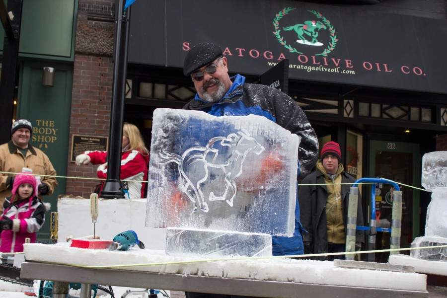 Saratoga Olive Oil Co Ice Carving