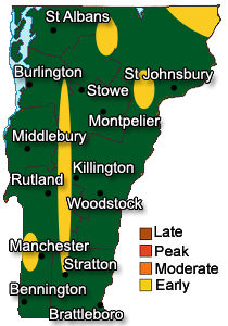 Vermont Fall Foliage Map - Early 2